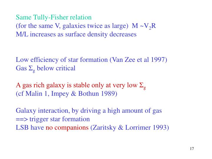 Same Tully-Fisher relation