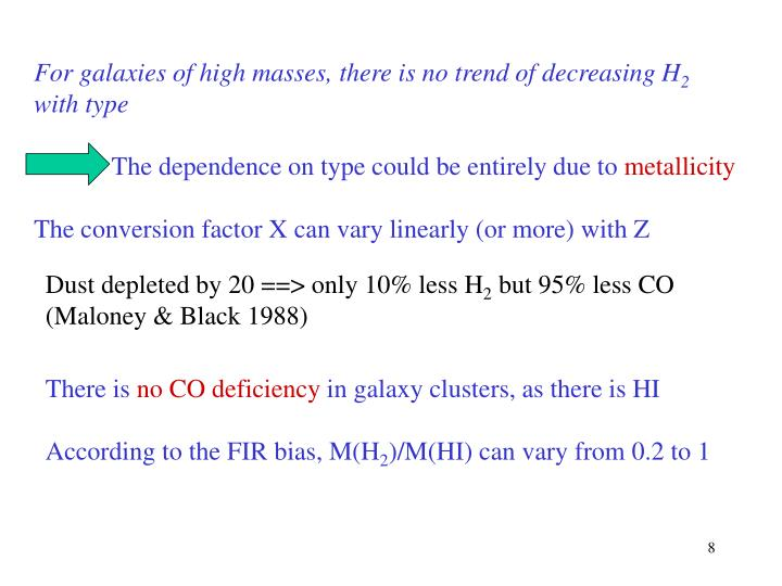 For galaxies of high masses, there is no trend of decreasing H