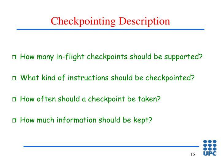 Checkpointing Description