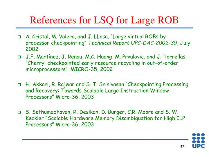 References for LSQ for Large ROB
