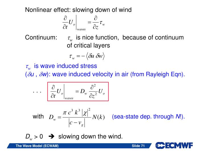 Nonlinear effect: slowing down of wind
