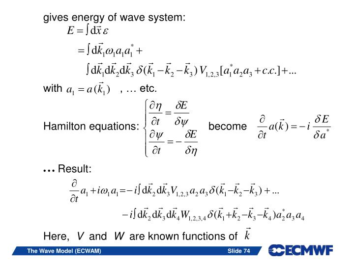 gives energy of wave system: