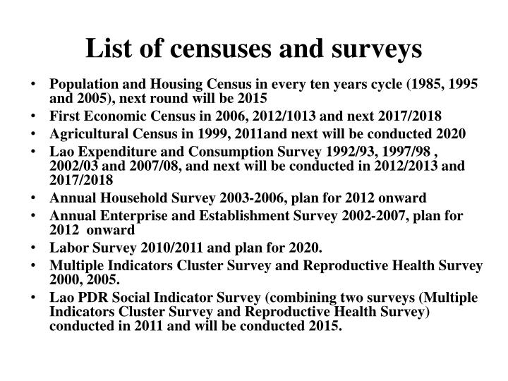 List of censuses and surveys