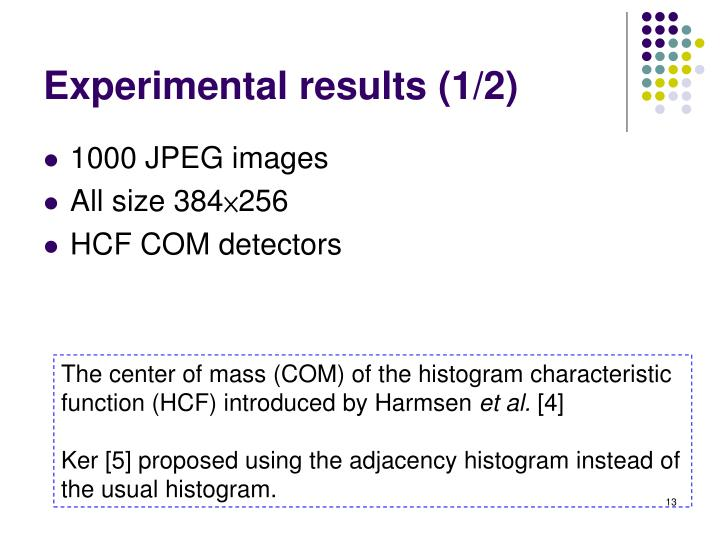 Experimental results (1/2)