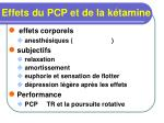 effets du pcp et de la k tamine