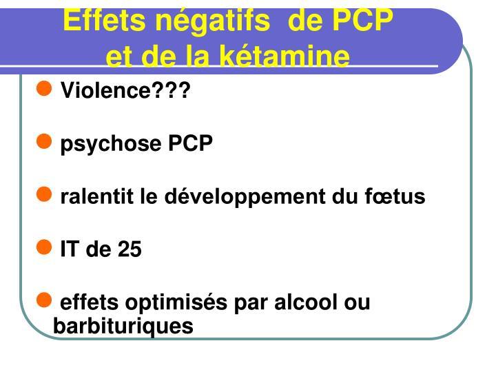 Effets négatifs  de PCP