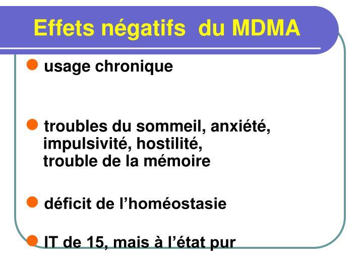 Effets négatifs  du MDMA