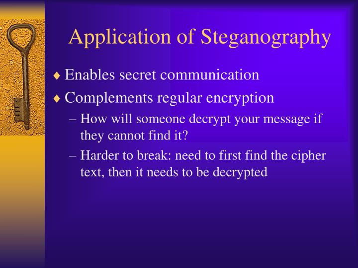 Application of Steganography