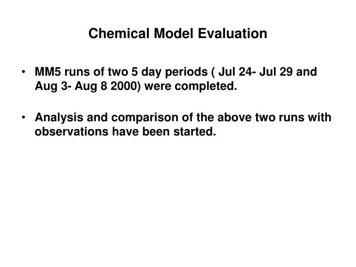 Chemical Model Evaluation
