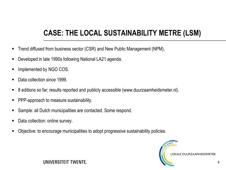 CASE: THE LOCAL SUSTAINABILITY METRE (LSM)