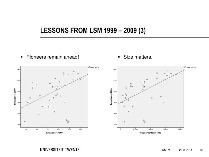 LESSONS FROM LSM 1999 – 2009 (3)