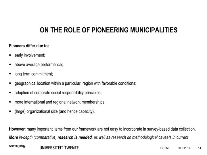 ON THE ROLE OF PIONEERING MUNICIPALITIES