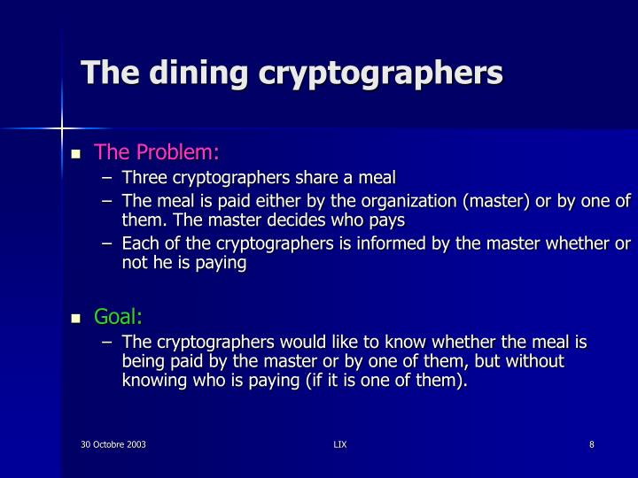 The dining cryptographers