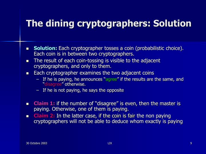 The dining cryptographers: Solution