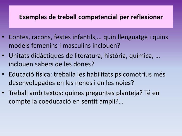 Exemples de treball competencial per reflexionar