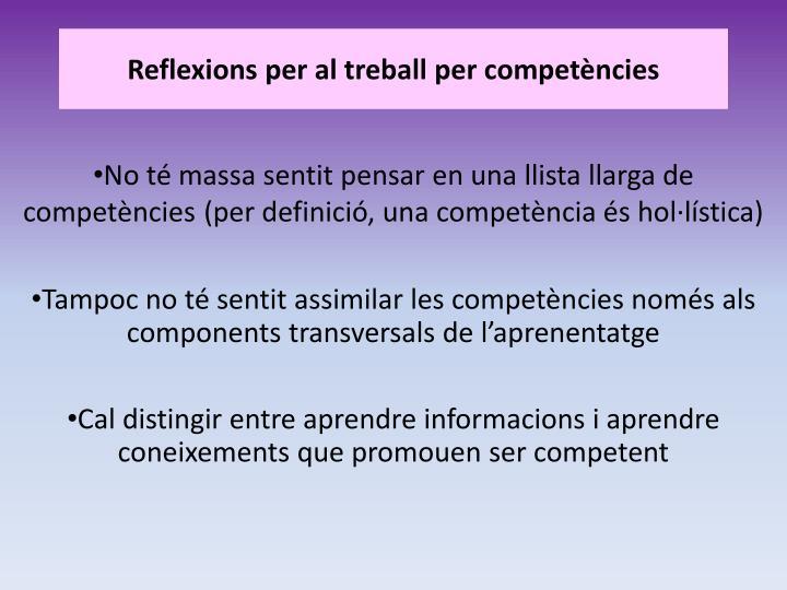 Reflexions per al treball per competències