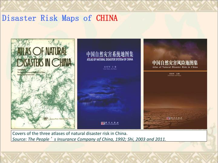 Covers of the three atlases of natural disaster risk in China.