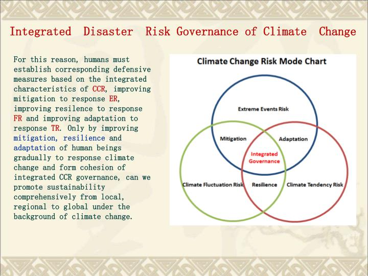 Integrated  Disaster  Risk Governance of Climate  Change