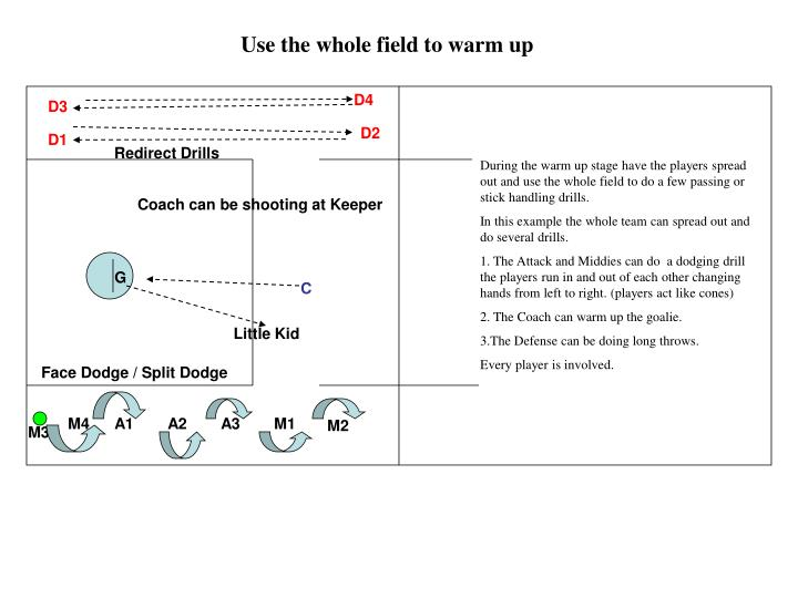 Use the whole field to warm up