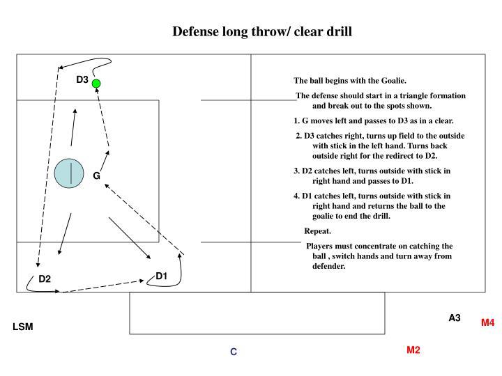 Defense long throw/ clear drill