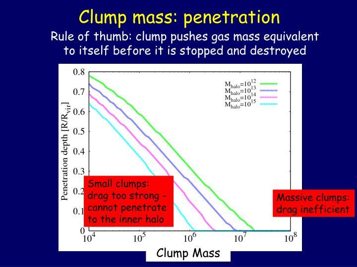 Clump mass: penetration