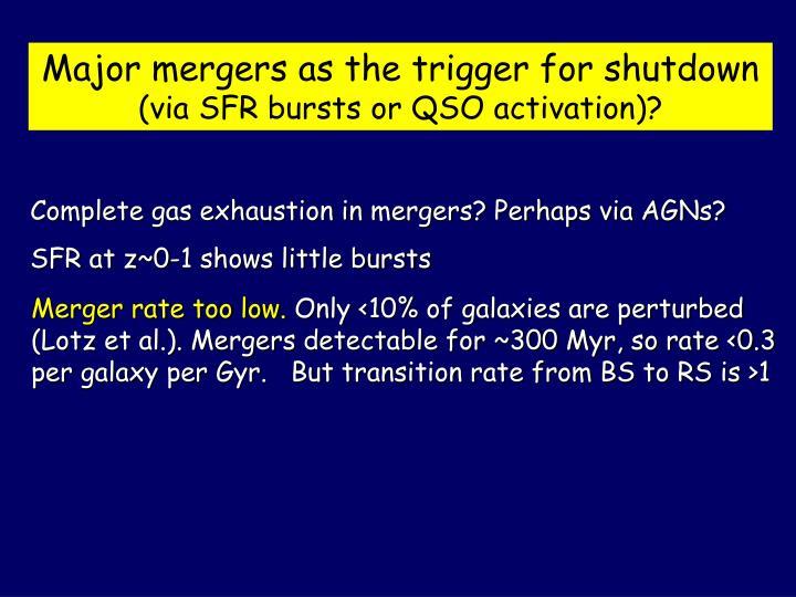 Major mergers as the trigger for shutdown