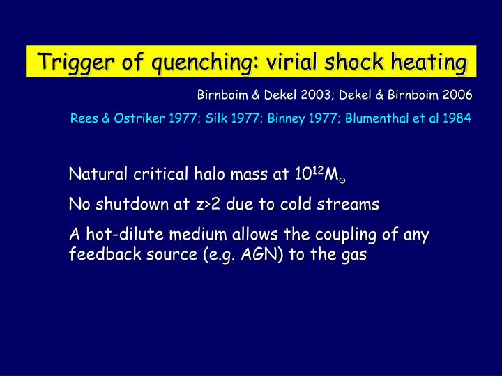 Trigger of quenching: virial shock heating