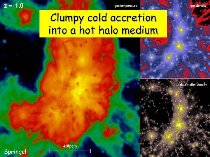 Clumpy cold accretion into a hot halo medium