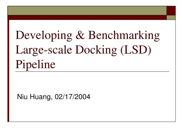 Developing benchmarking large scale docking lsd pipeline