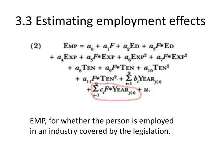 3.3 Estimating employment effects