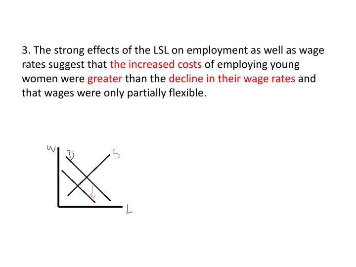 3. The strong effects of the LSL on employment as well as wage rates suggest that