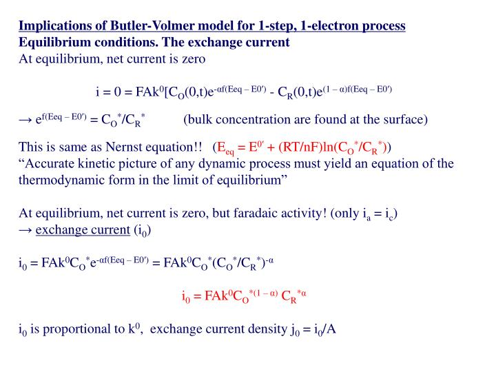 Implications of Butler-Volmer model for 1-step, 1-electron process