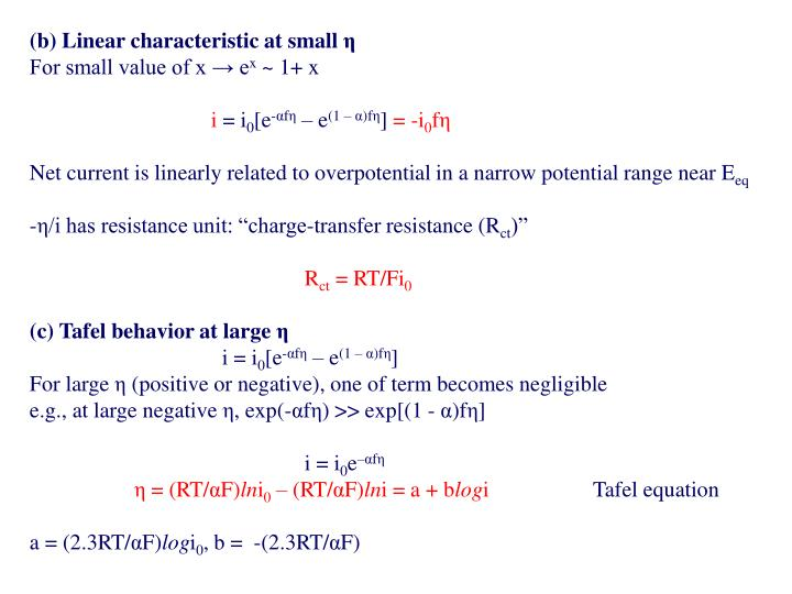 (b) Linear characteristic at small
