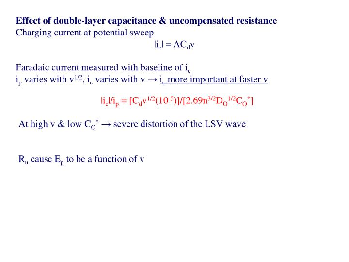 Effect of double-layer capacitance & uncompensated resistance