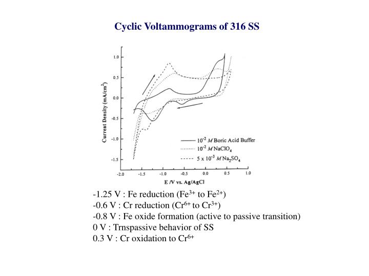 Cyclic Voltammograms of 316 SS