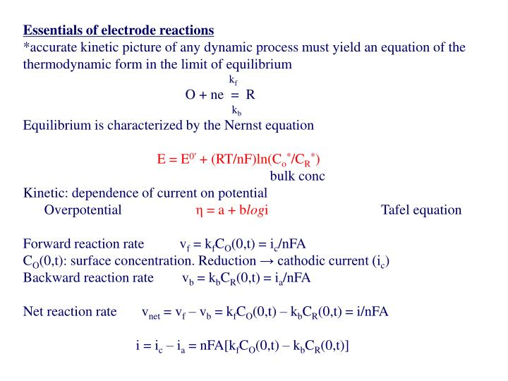 Essentials of electrode reactions