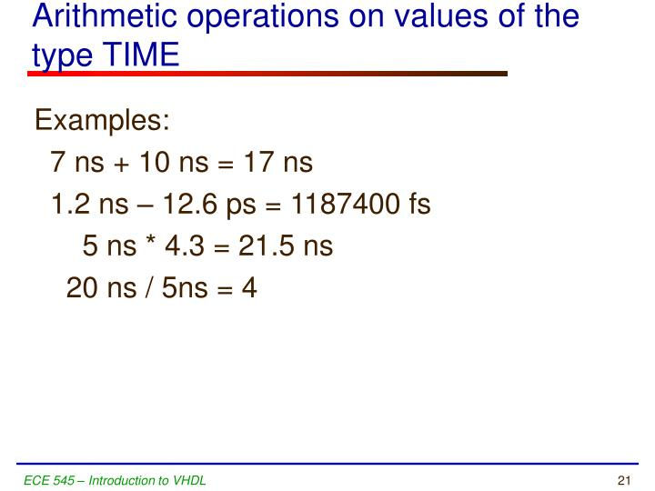 Arithmetic operations on values of the type TIME