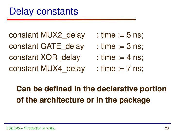 Delay constants
