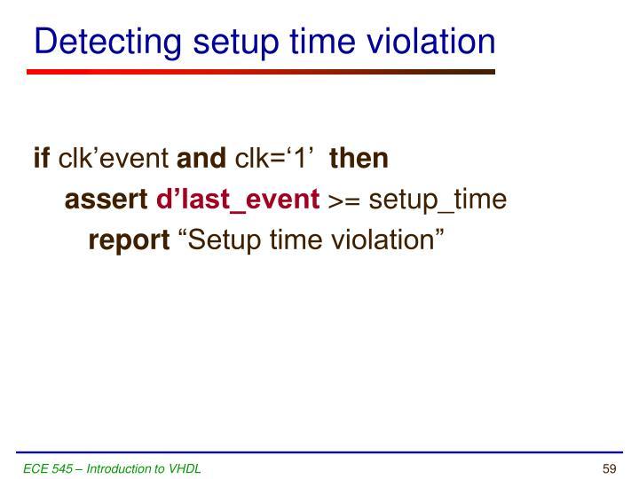 Detecting setup time violation