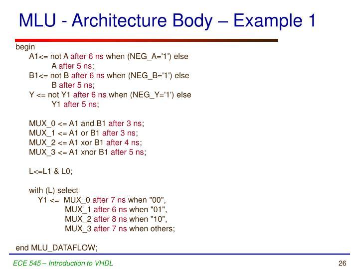 MLU - Architecture Body – Example 1
