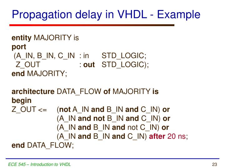 Propagation delay in VHDL - Example