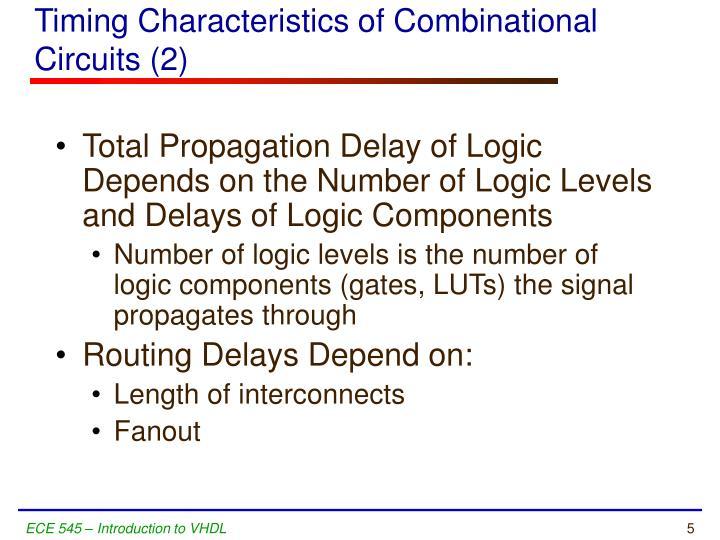 Timing Characteristics of Combinational Circuits (2)