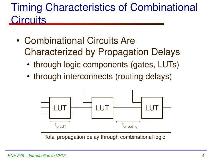 Timing Characteristics of Combinational Circuits