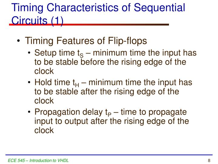 Timing Characteristics of Sequential Circuits (1)