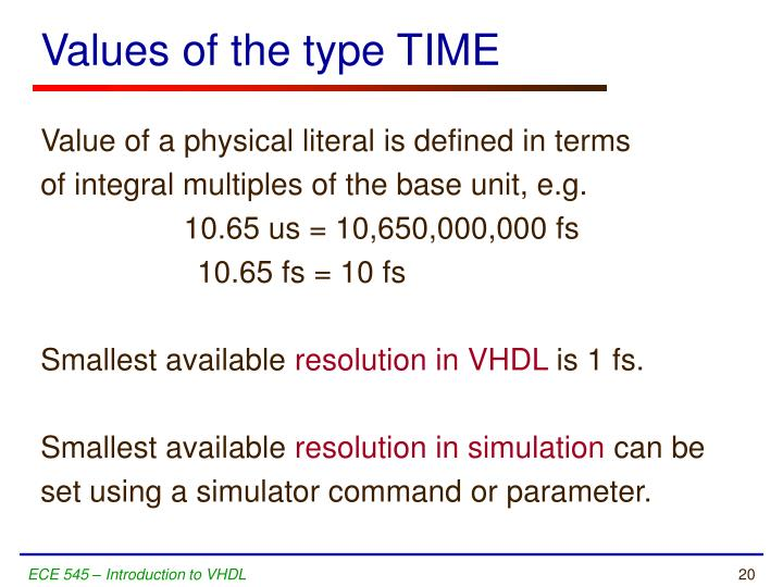 Values of the type TIME