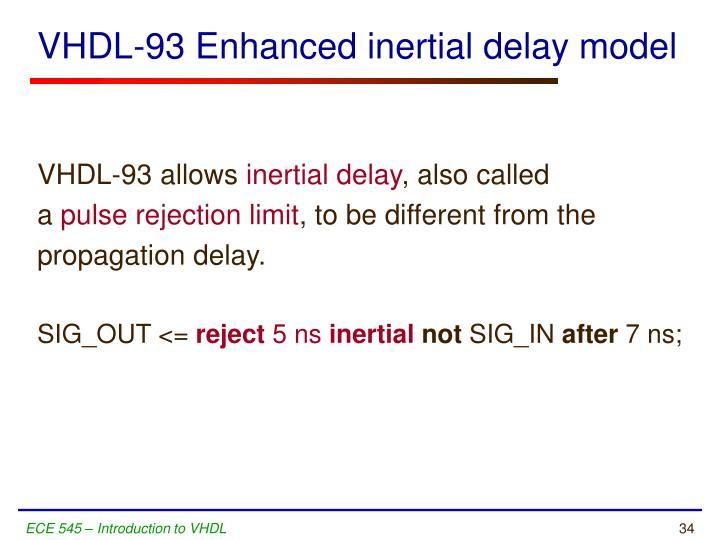 VHDL-93 Enhanced inertial delay model