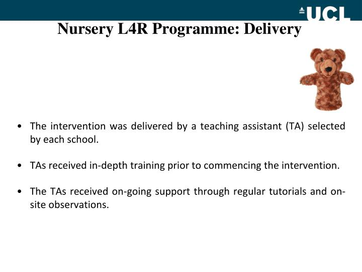 Nursery L4R Programme: Delivery