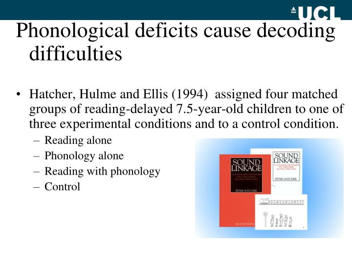 Phonological deficits cause decoding difficulties