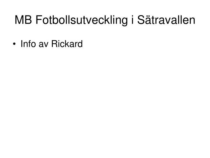 MB Fotbollsutveckling i Sätravallen