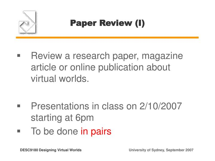 Paper Review (I)